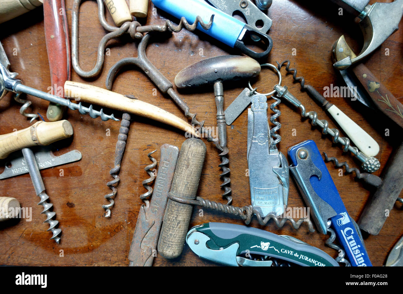 Collection of corkscrews in a home, France - Stock Image