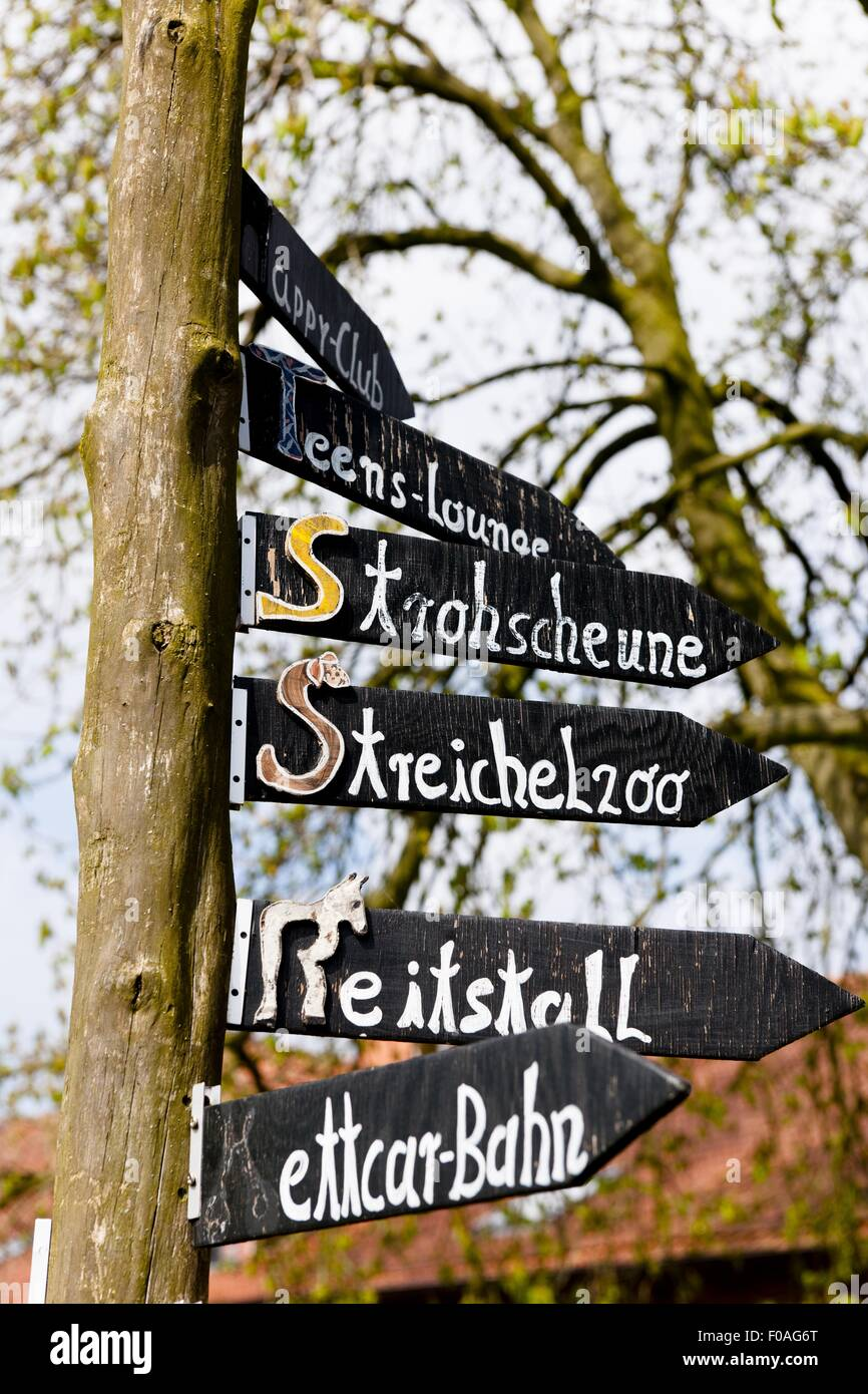 Close-up of sign board for Landegge guide - Stock Image