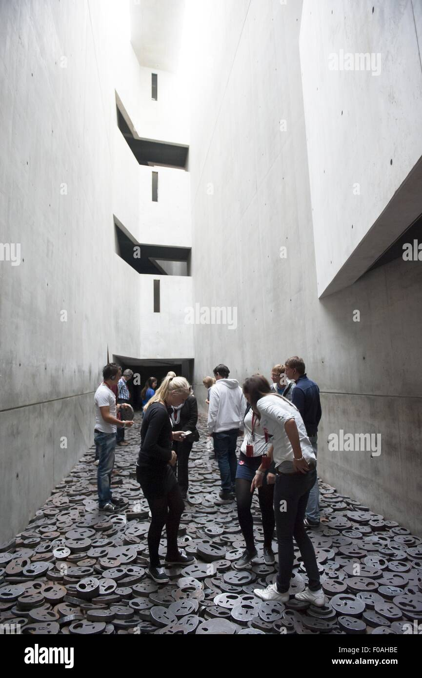 Close-up of Memory Void in Jewish Museum at Berlin, Germany - Stock Image