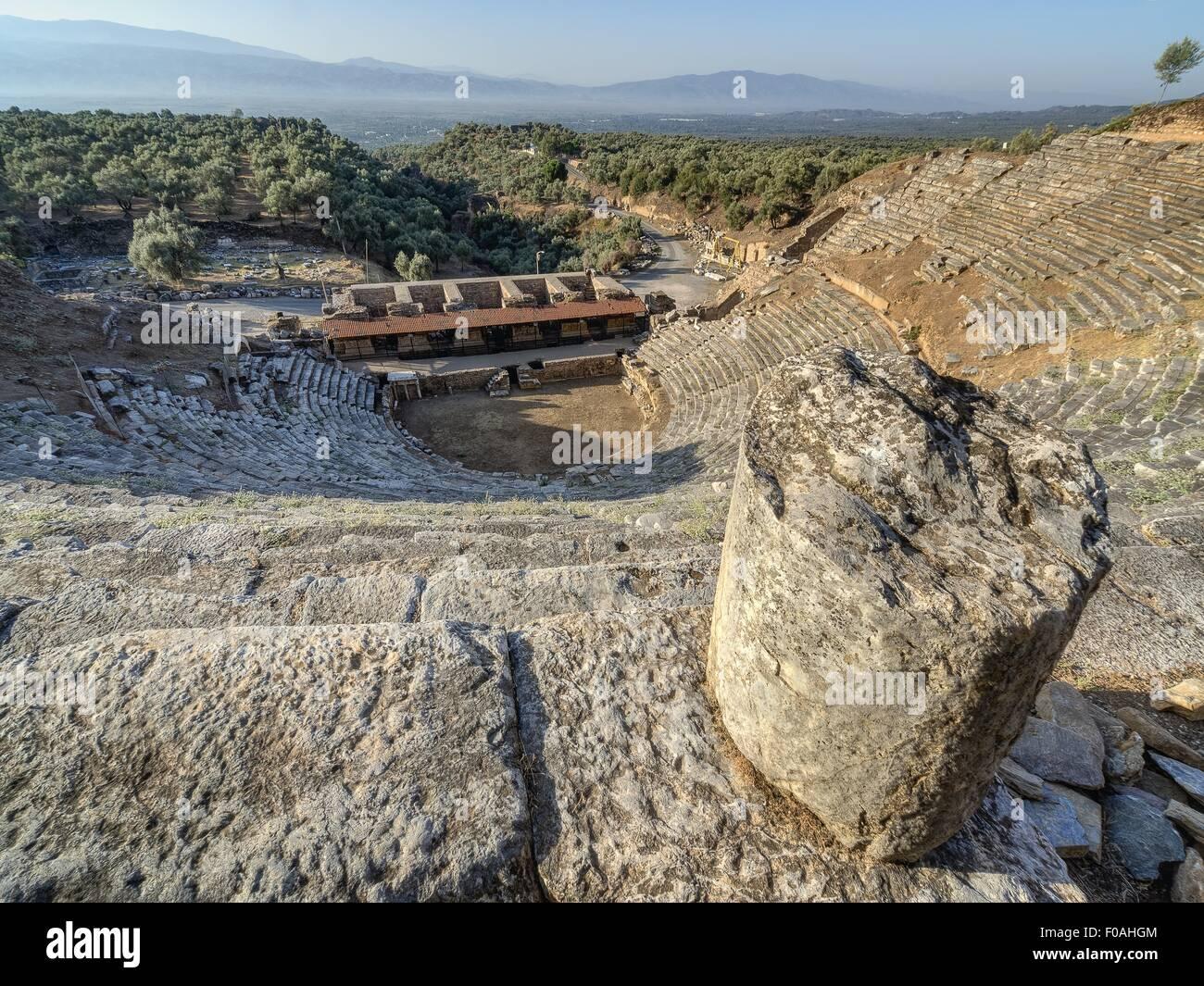 View of antique Priene Theater in Turkey Stock Photo