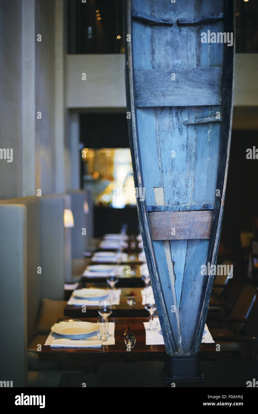 View Of Wooden Canoe At Restaurant D O M In Sao Paulo Brazil Stock
