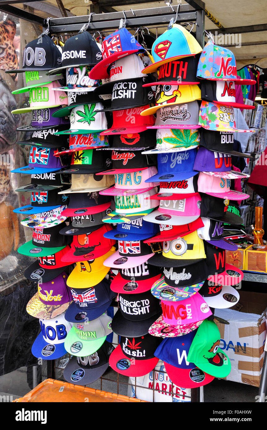 Novelty caps on rack in Jubilee Market Hall, Covent Garden, City of Westminster, London, England, United Kingdom - Stock Image