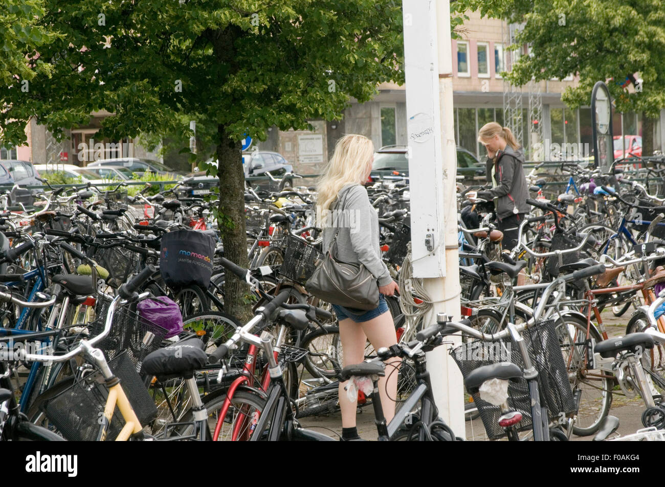 bike bikes cycles outside station in sweden swedish transport attitude to cycling - Stock Image