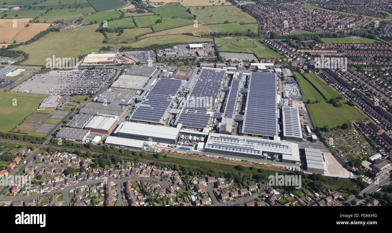 aerial view of the Bentley Motors luxury car production factory at Crewe, Cheshire, UK - Stock Image