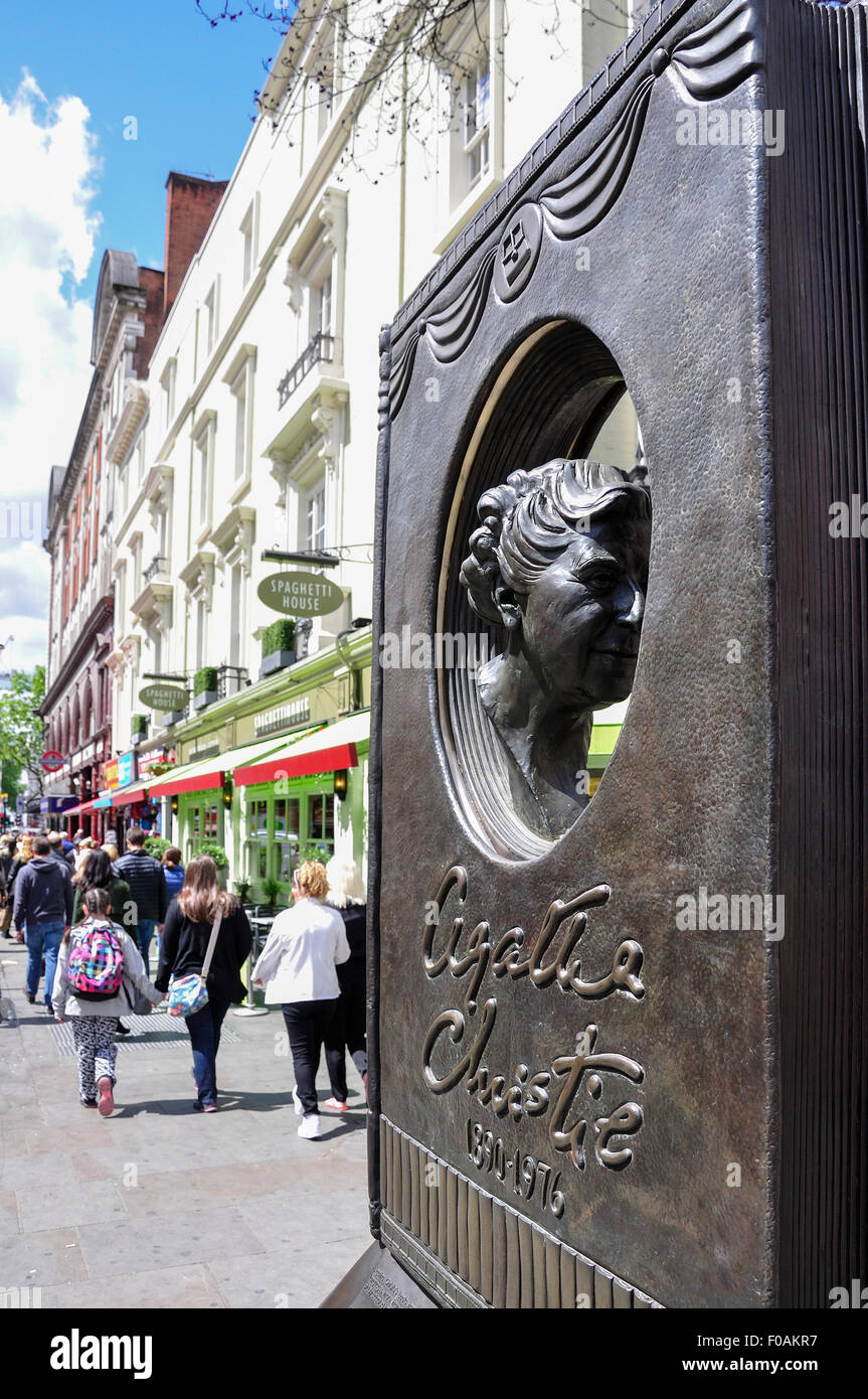 Agatha Christie statue 'The Book', Cranbourn Street, Covent Garden, City of Westminster, London, England, - Stock Image