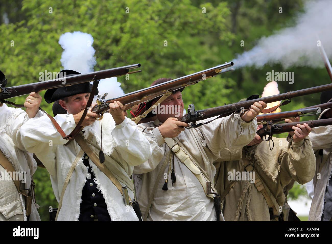 Musket firing at Revolutionary War reenactment at Jockey