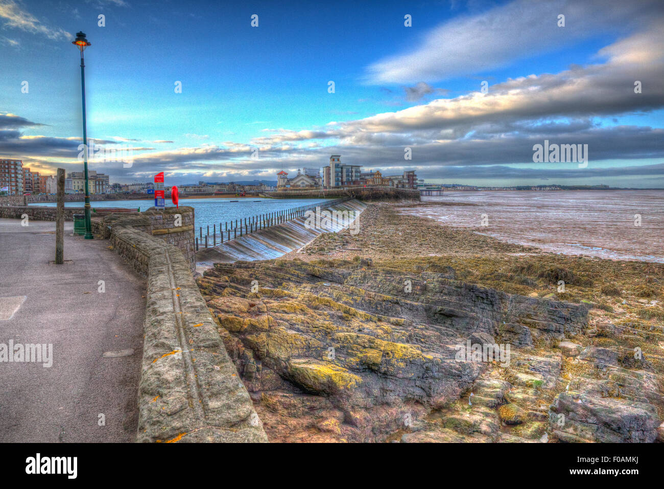 Knightstone island and Marine Lake Weston-super-Mare Somerset England uk early morning in HDR - Stock Image