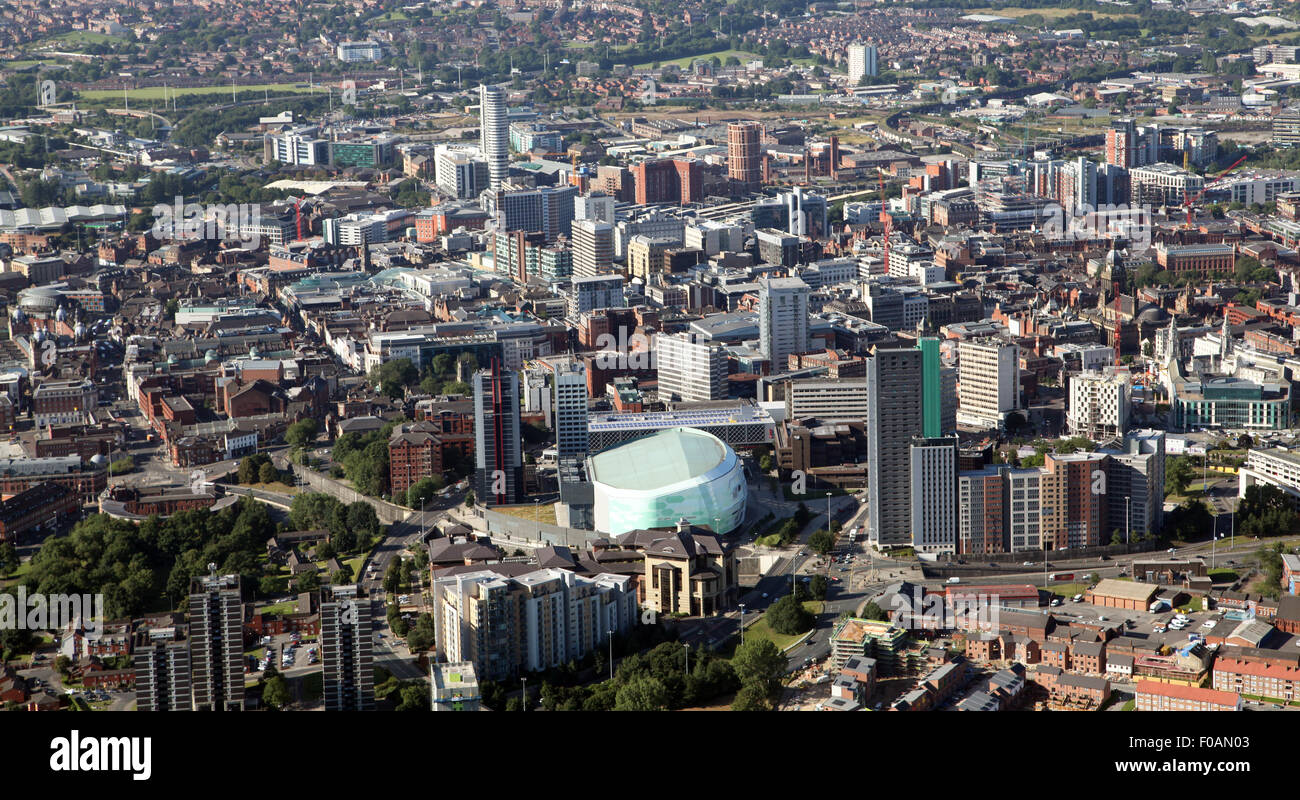aerial view of Leeds city centre looking south from the FD First Direct Arena back across the city, UK - Stock Image