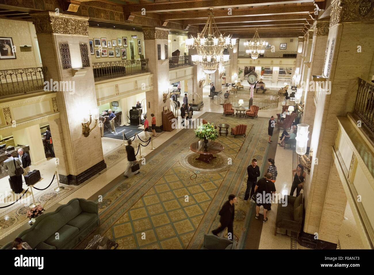 People at lobby of Fairmont Royal York Hotel, Toronto, Canada, elevated view - Stock Image