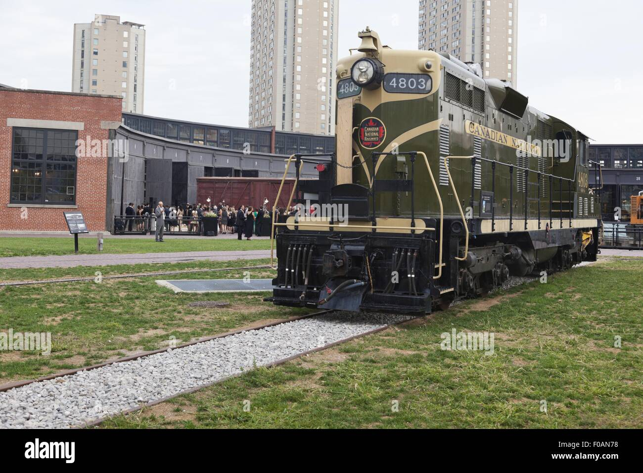 Disused locomotive in Canadian National Roundhouse Park, Toronto, Canada - Stock Image
