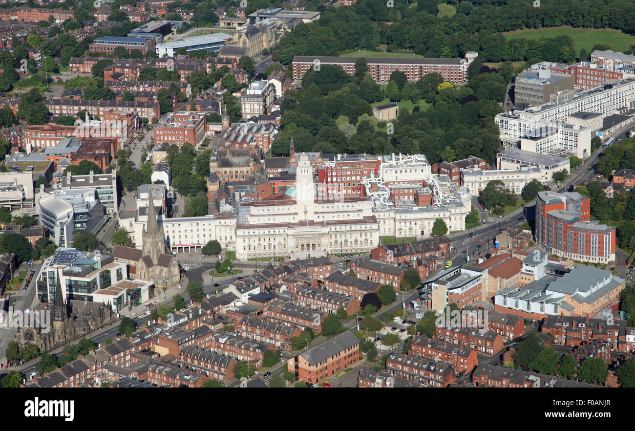 aerial view of Leeds University, UK - Stock Image