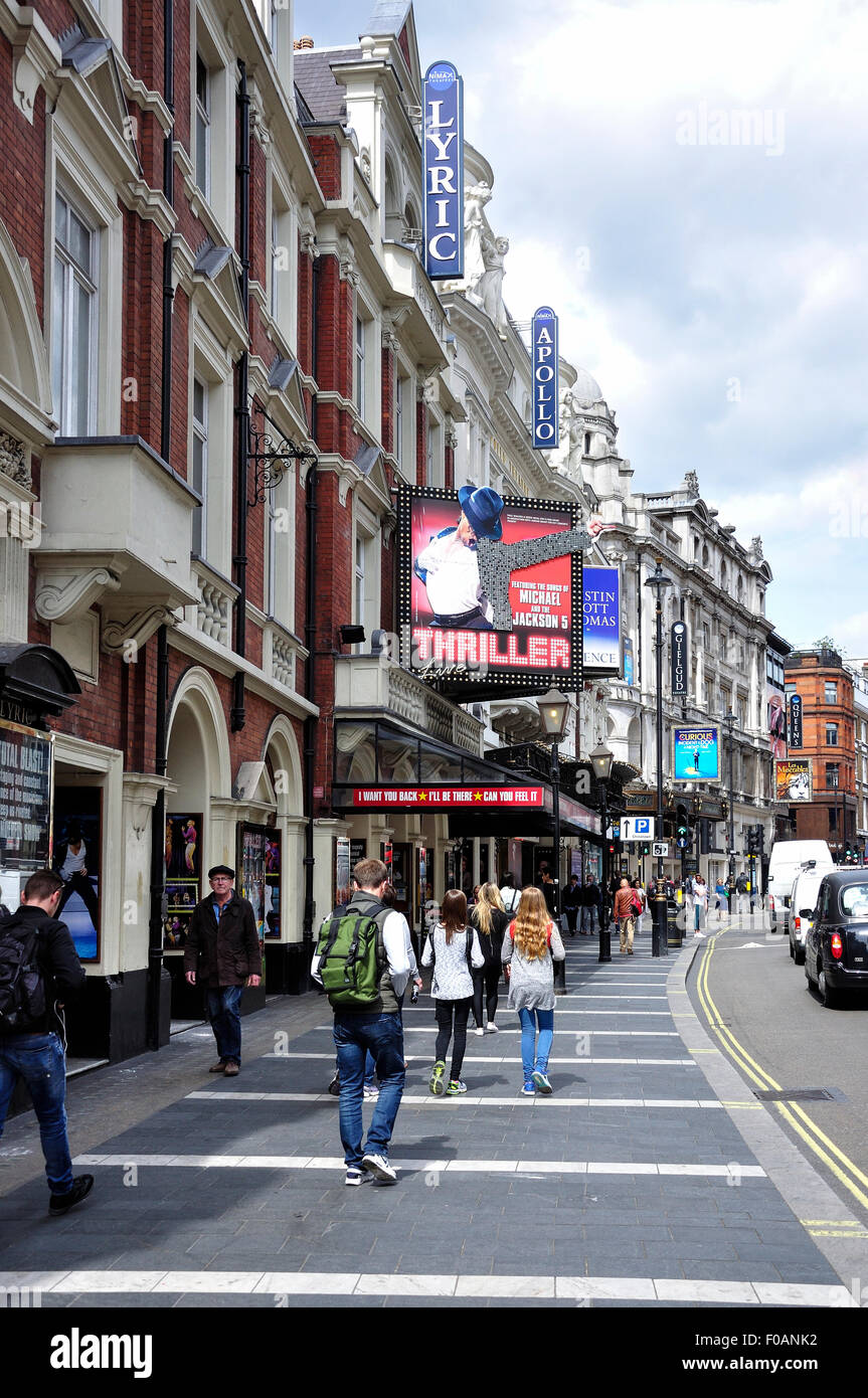 Apollo and Lyric theatres, Shaftesbury Avenue, West End, City of Westminster, London, England, United Kingdom - Stock Image