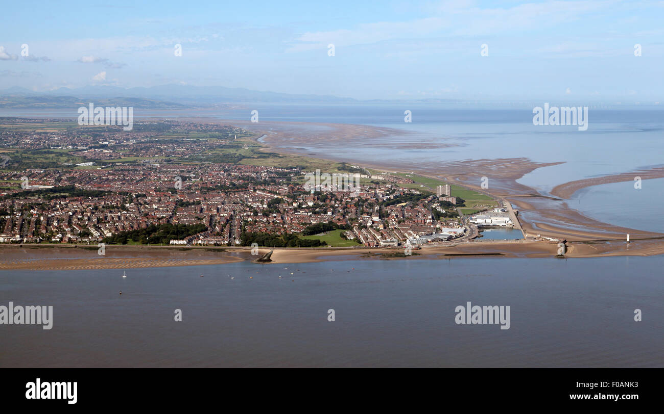 aerial view of Wallasey and The Wirral on the Mersey near Liverpool - Stock Image