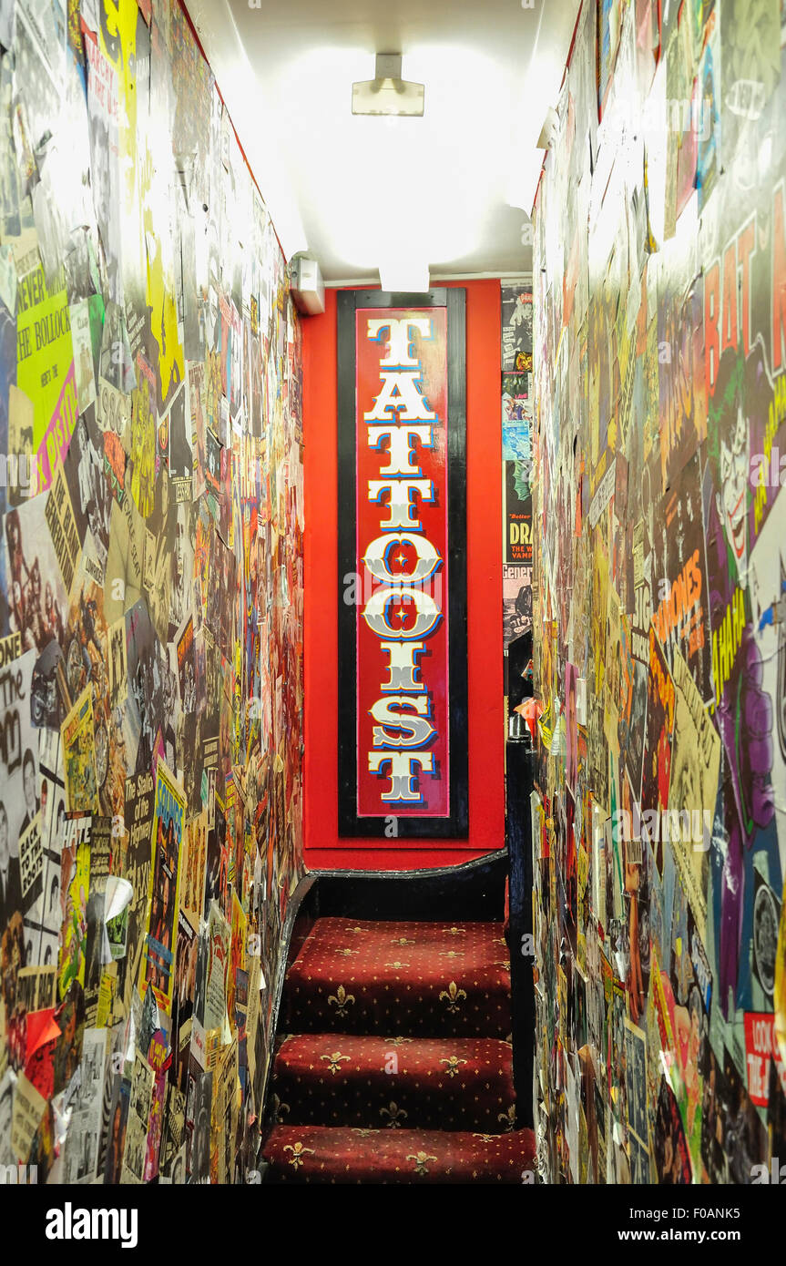Entrance to Tattoo parlour, Brewer Street, Soho, West End, City of Westminster, London, England, United Kingdom - Stock Image