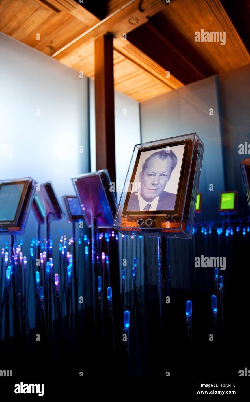 Willy Brandt photo frame with lights in gallery at Nobel Fredssenter, Oslo, Norway - Stock Image