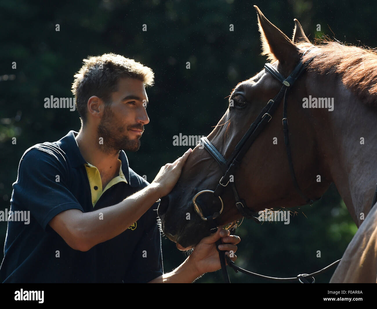 Czech athlete David Svoboda with a horse at the meeting with Czech representatives of the modern pentathlon prior - Stock Image