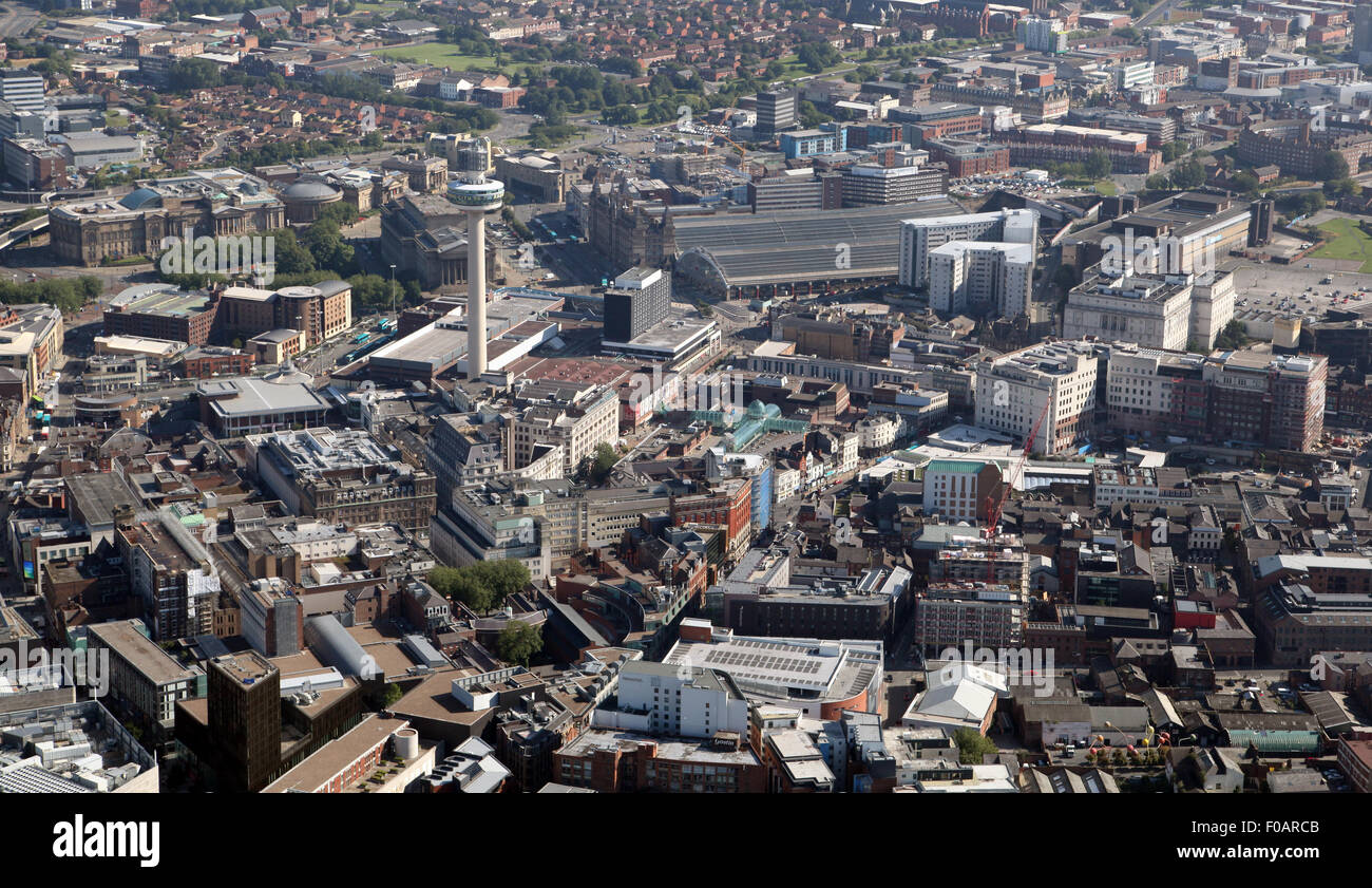 aerial view of Liverpool city centre with the Radio City Tower & Lime Street Station, UK - Stock Image