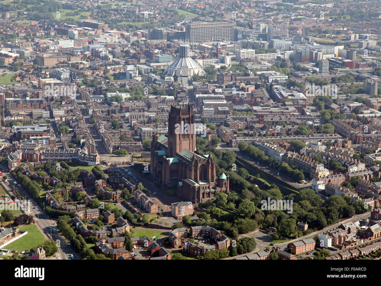 aerial view of Liverpool Cathedrals: Anglican and Catholic Metropolitan Cathedral of Christ the King, UK - Stock Image