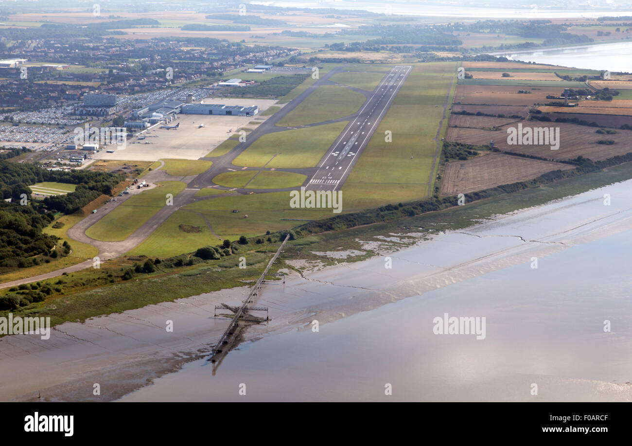 aerial view down the runway approach of Liverpool John Lennon Airport - Stock Image