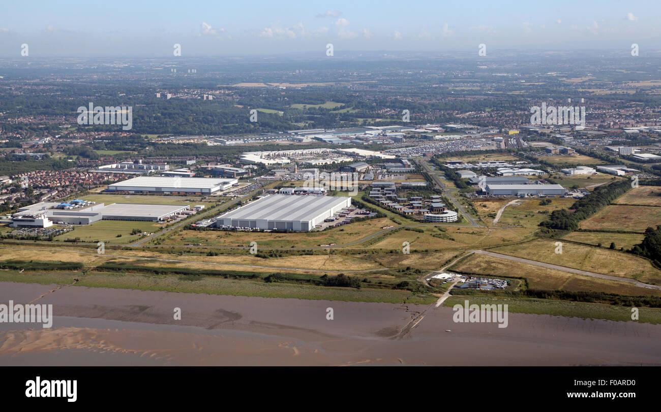 aerial view of Liverpool International Business Park, Merseyside, UK - Stock Image
