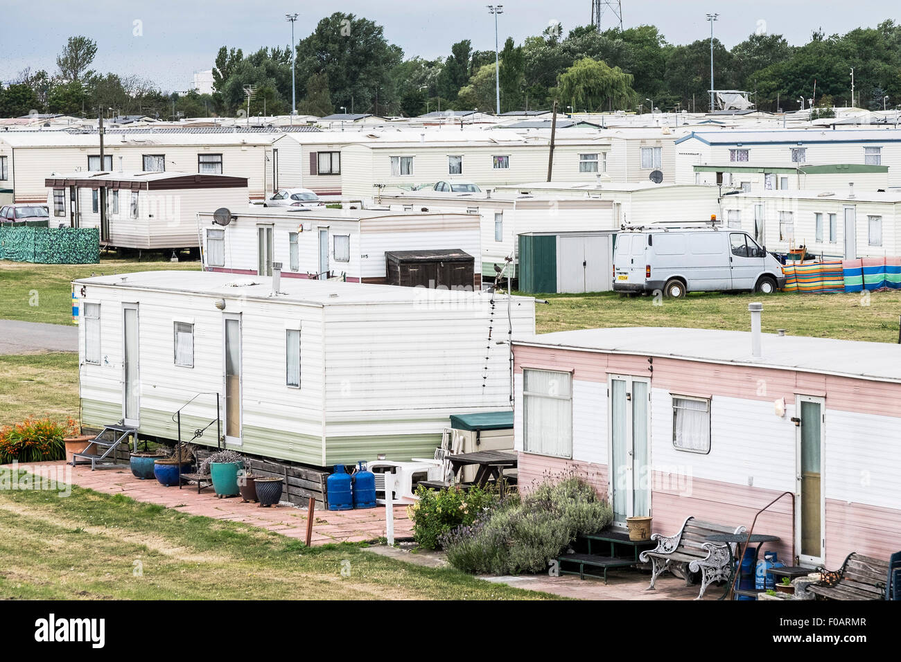 Canvey Island - Thorney Bay Village. A residential caravan park on Canvey Island, Essex. Stock Photo