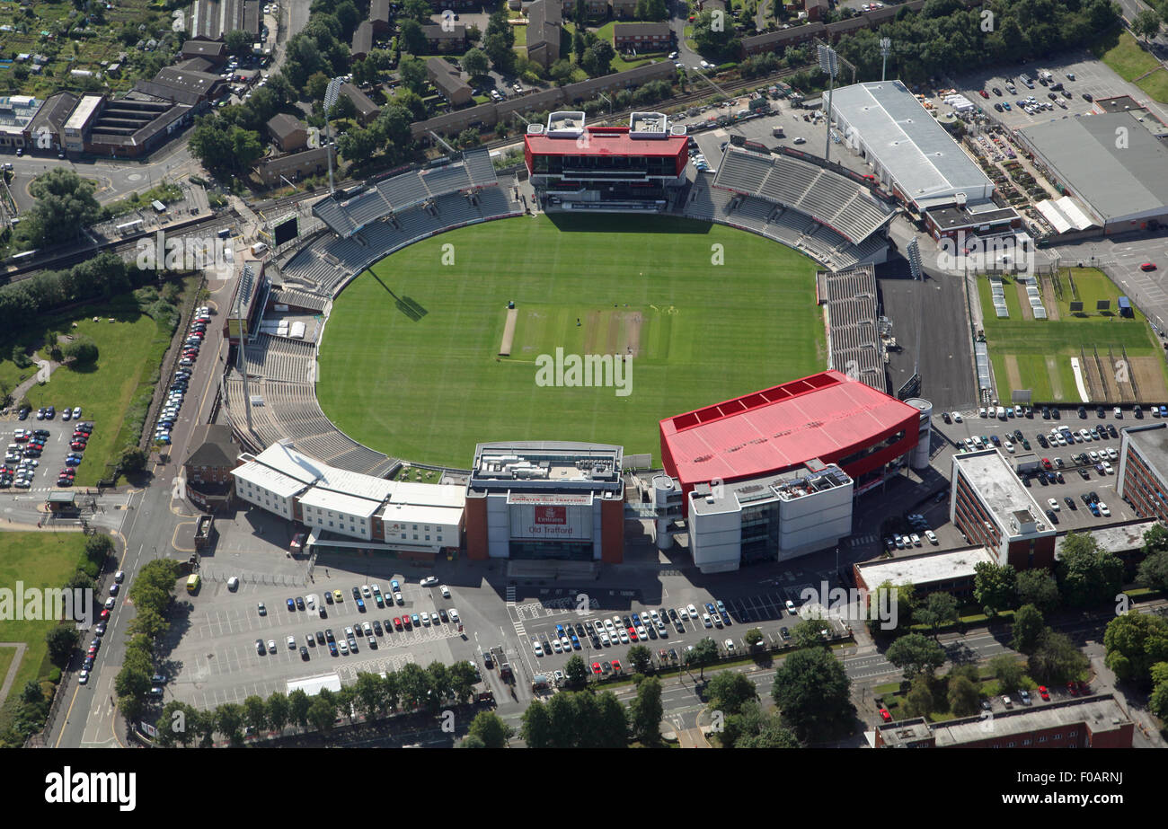 aerial view of the Emirates Old Trafford cricket ground in Manchester - Stock Image
