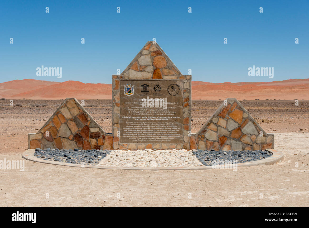 The Namib Sand Sea World Heritage Sign, Namib-Naukluft National Park, Sossusviei, Namib Desert, Hardap Region, Republic - Stock Image