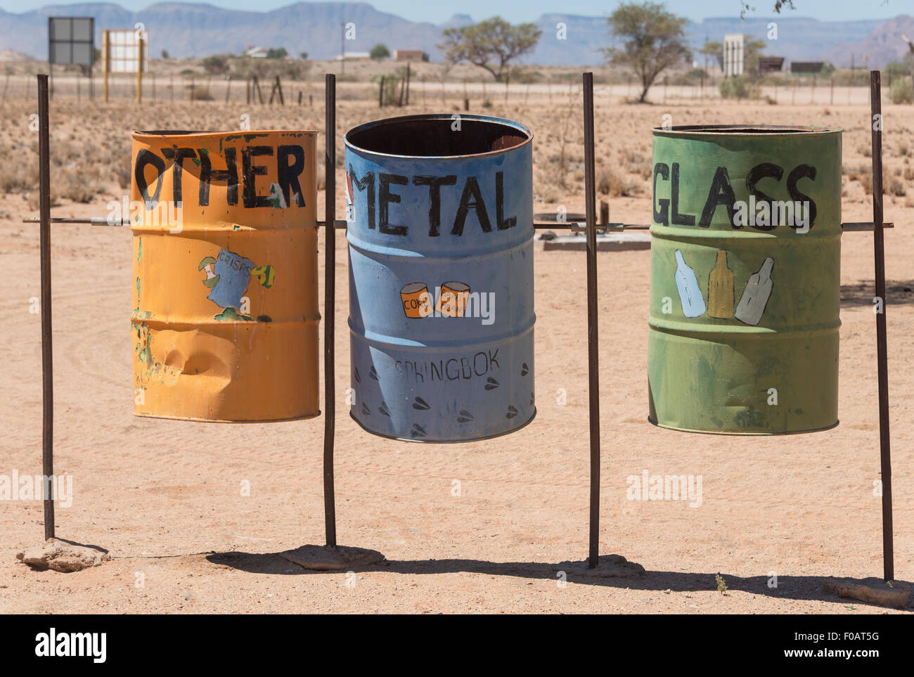 Recycling drums at Sesriem Canyon, Namib-Naukluft National Park, Sossusviei, Namib Desert, Hardap Region, Republic - Stock Image
