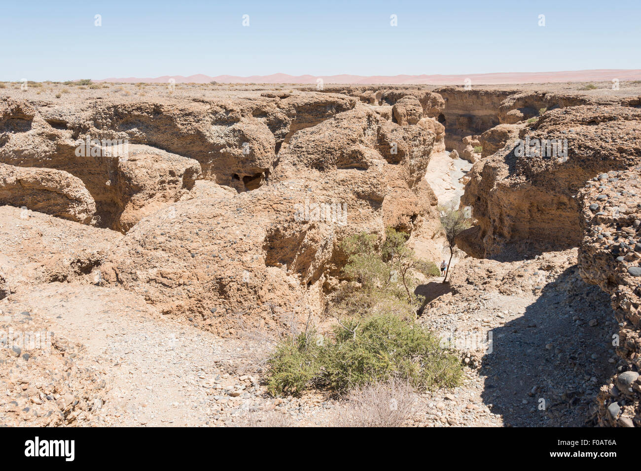 Sesriem Canyon, Namib-Naukluft National Park, Sossusviei, Namib Desert, Hardap Region, Republic of Namibia - Stock Image