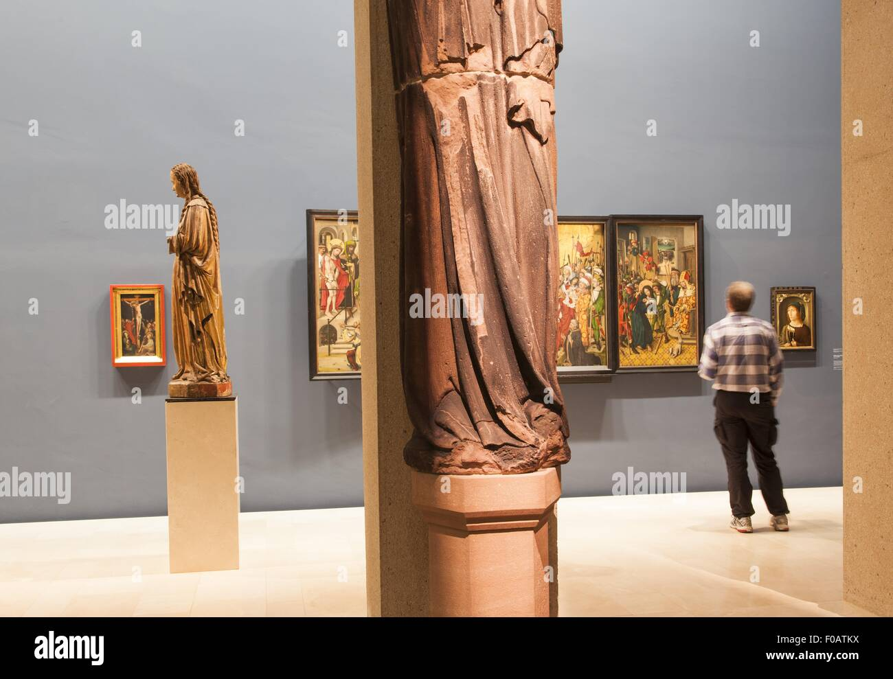 View of passion Altar in Sculpture hall, Augustiner Museum, Freiburg, Germany - Stock Image