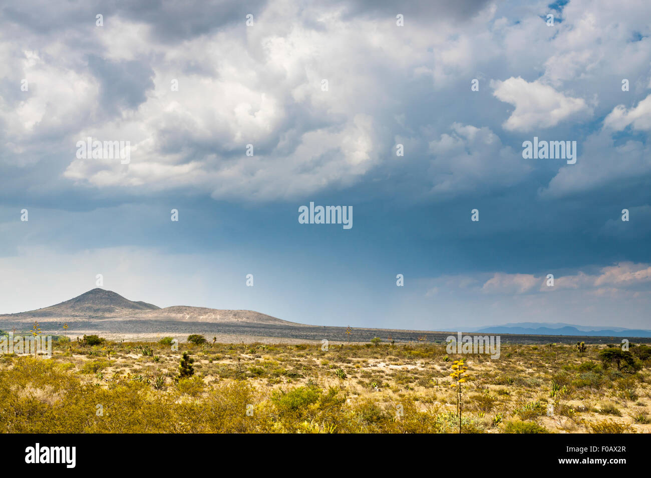 Mountain formation in north america at storm time. Zacatecas, ZAC. Mexico Stock Photo