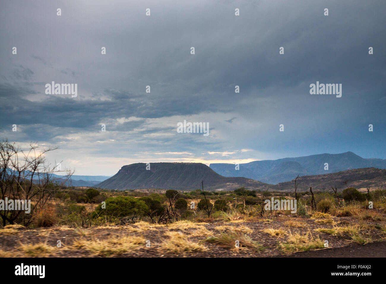 Mountain formation in north america at storm time. Zacatecas, ZAC. Mexico - Stock Image
