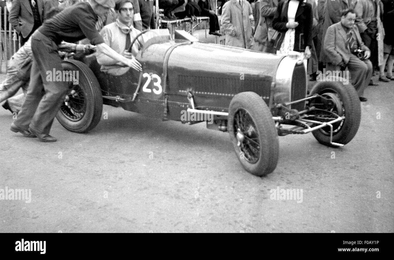 Bugatti at postwar demo 1950s - Stock Image