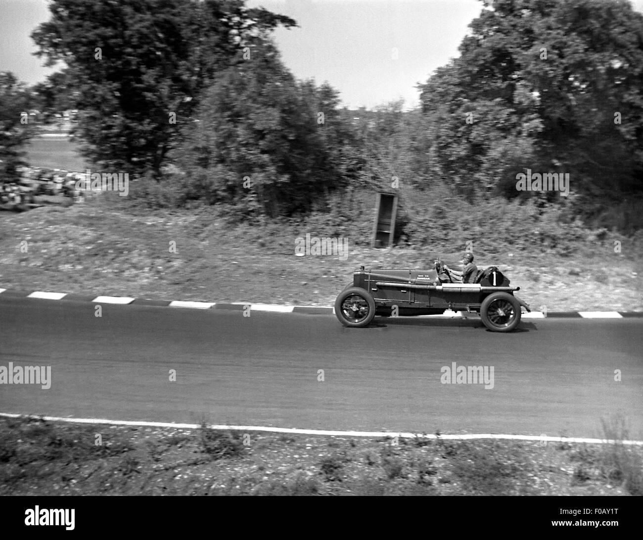 1914 TT Sunbeam at Brands Hatch, UK 1950s - Stock Image