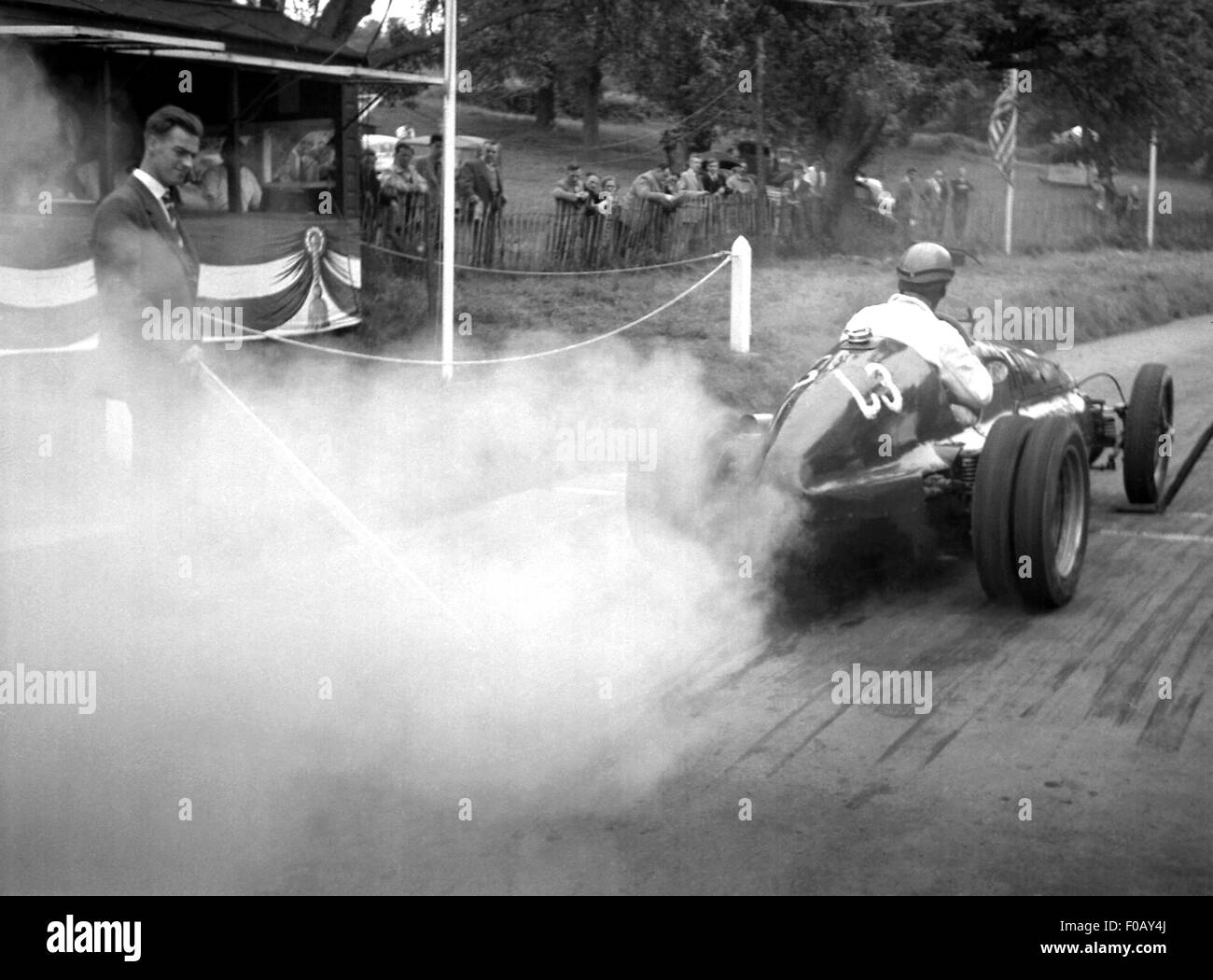 Bugatti racing car at Prescott hillclimb, UK 1930s - Stock Image