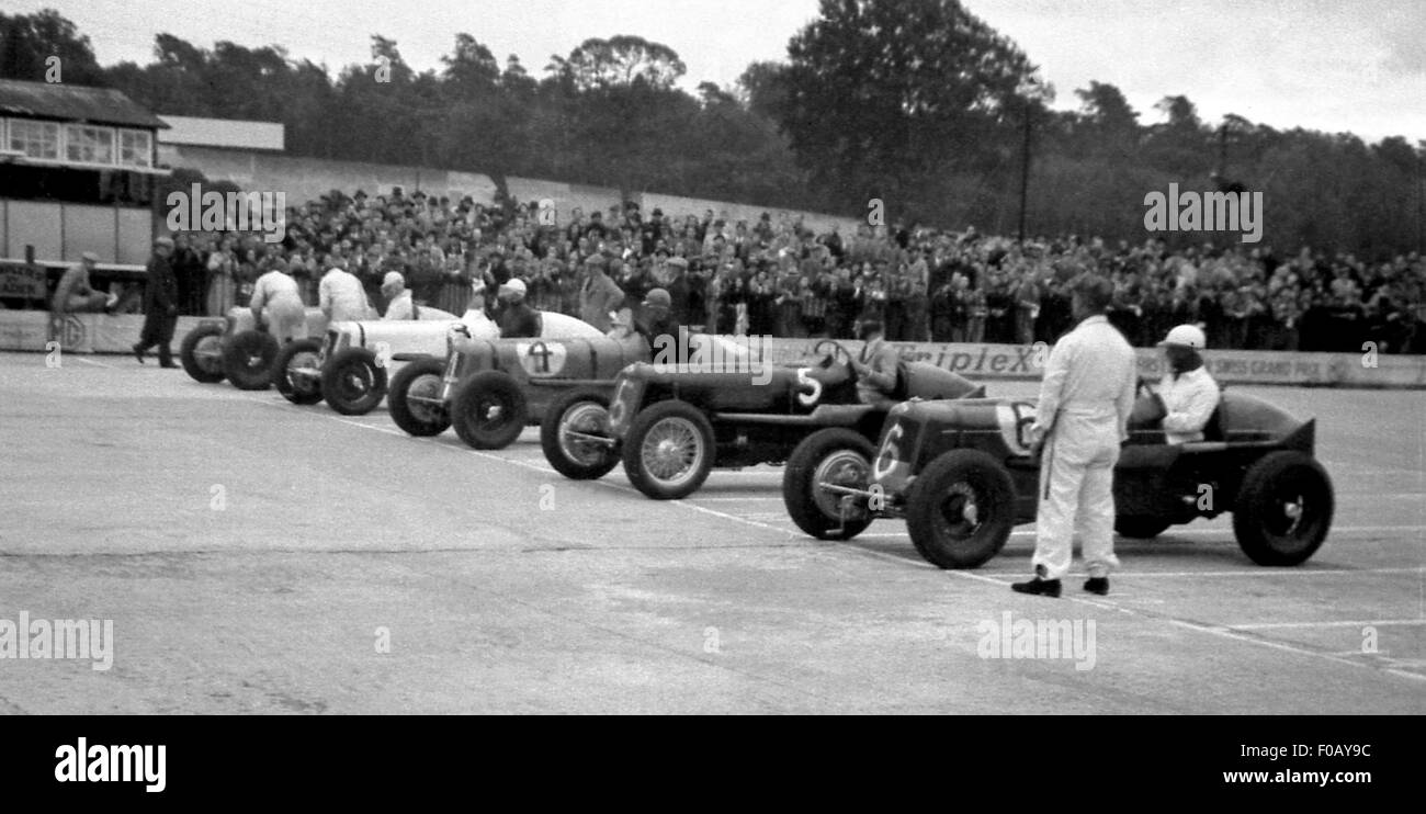 ERA line up at Brooklands 1930s - Stock Image