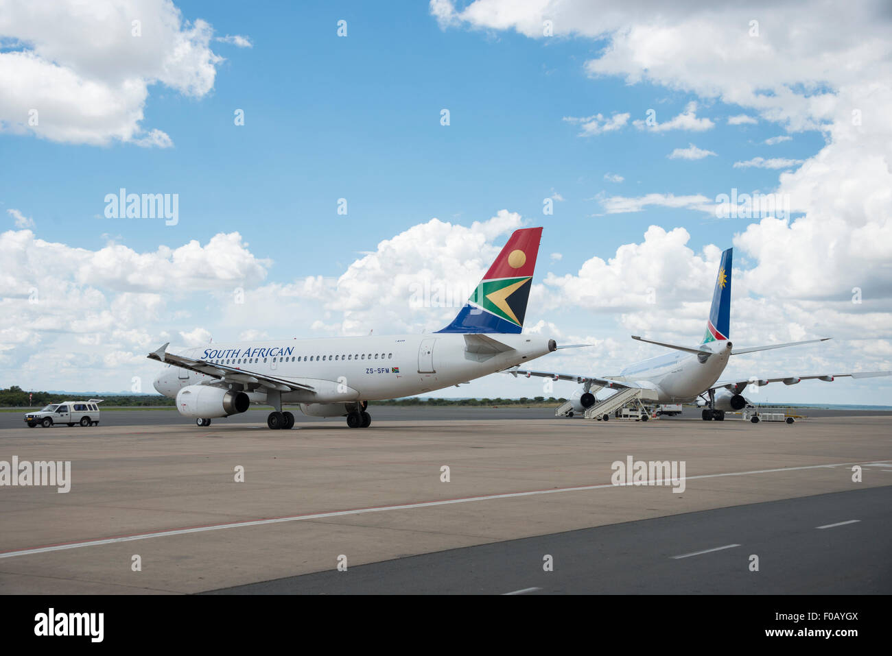 South African Airways Airbus A319 and Air Namibia aircraft at Hosea Kutako International Airport, Windhoek, Republic - Stock Image