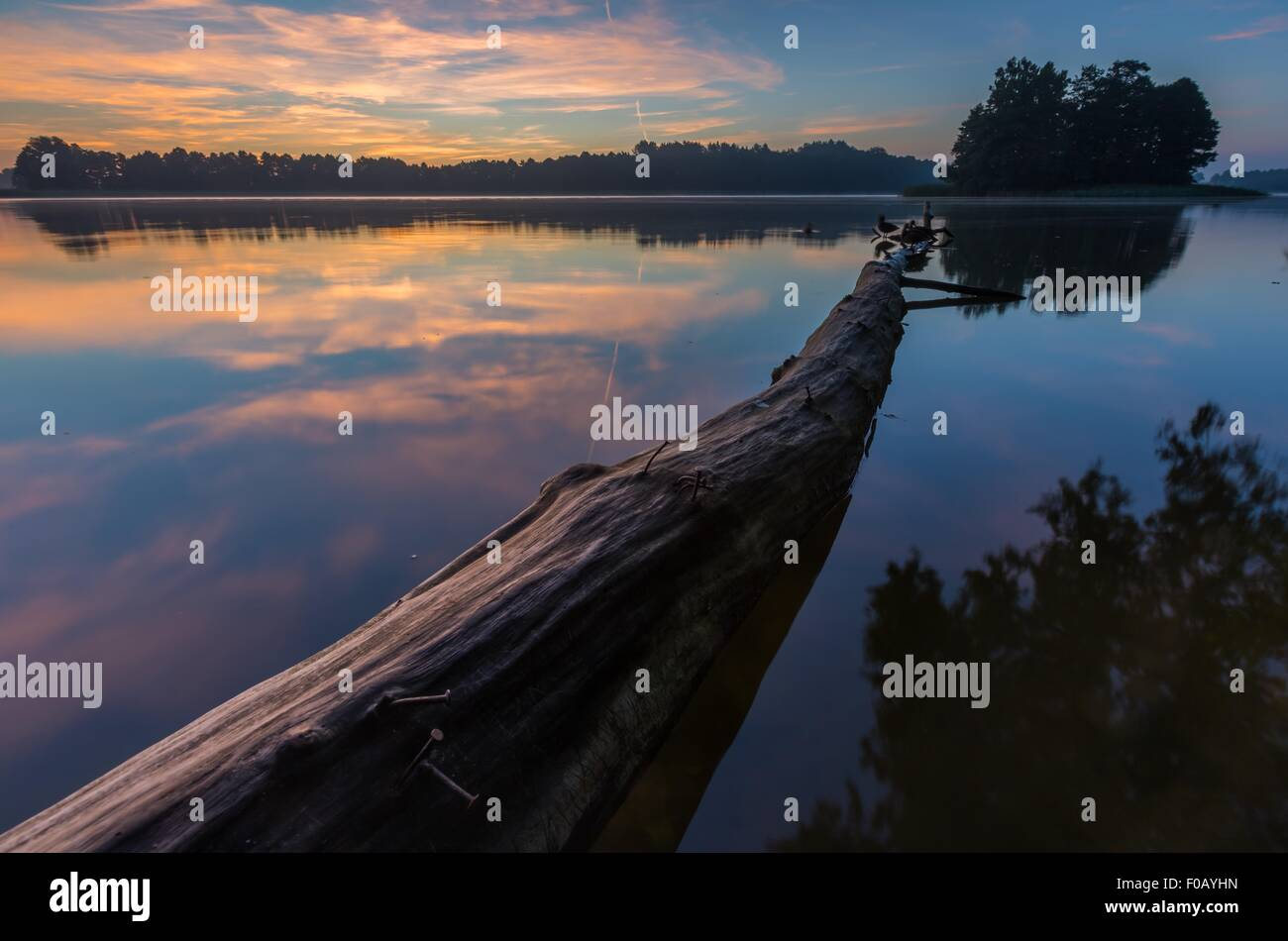 Beautiful sunrise over mysty lake. Lake in Warmia and Mazury lake district in Poland. Summer calm weather - Stock Image