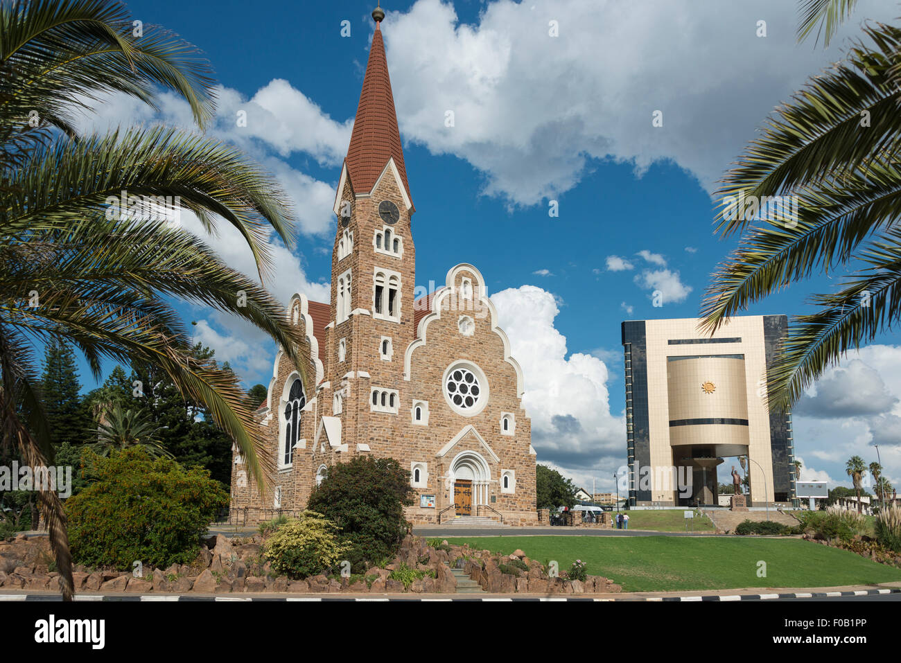 Christ Church (Christuskirche) and National Museum, Fidel Castro Street, Windhoek (Windhuk), Khomas Region, Republic - Stock Image