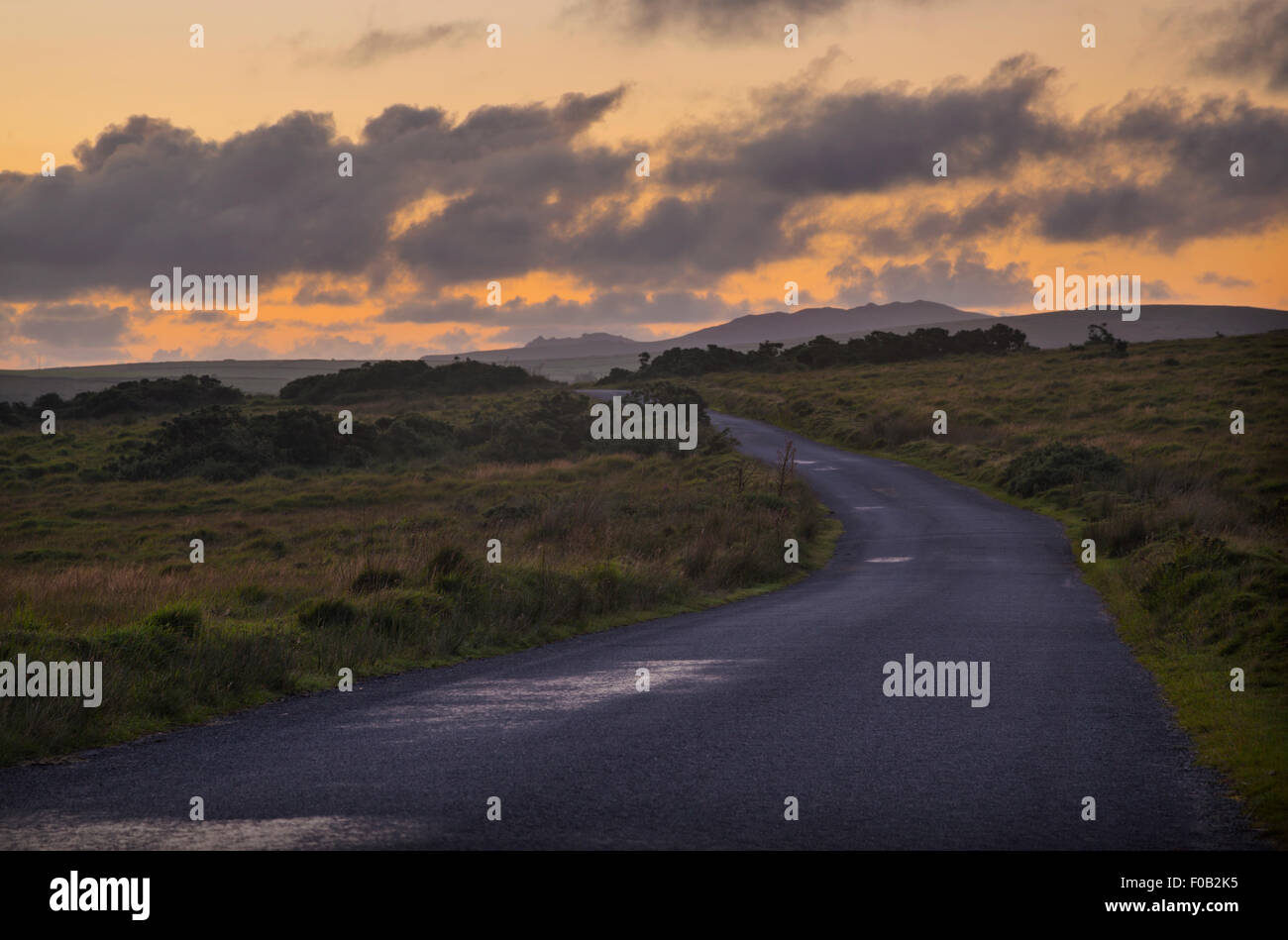Sunset over Bodmin moor - Stock Image