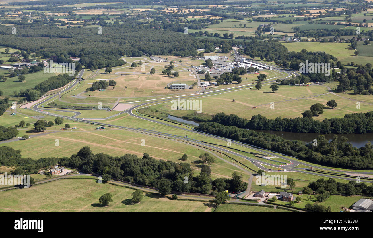 aerial view of Oulton Park car racing track circuit in Cheshire, UK - Stock Image