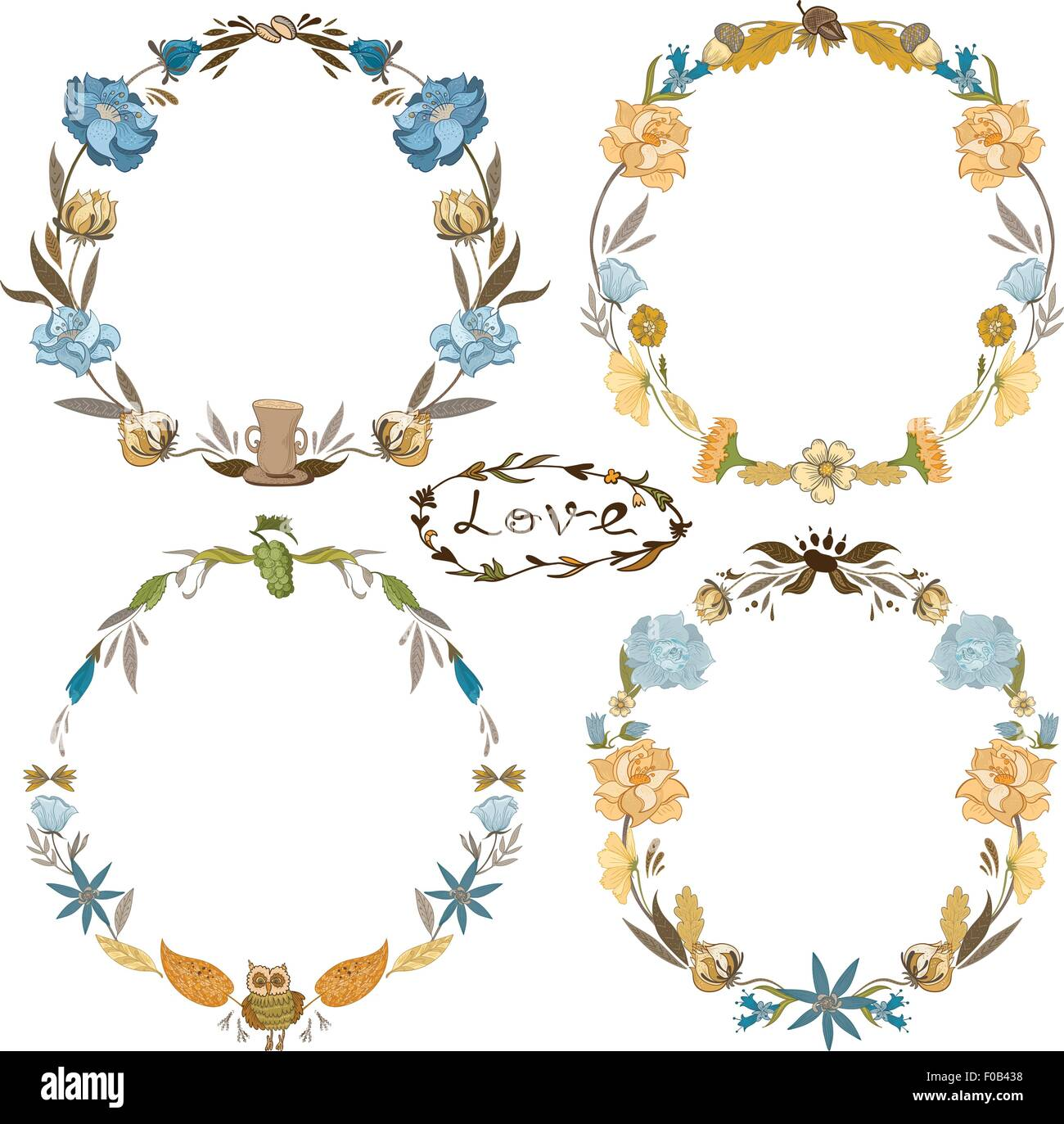 Hand-painted sketch doodle floral autumn hippie circle frames Stock ...