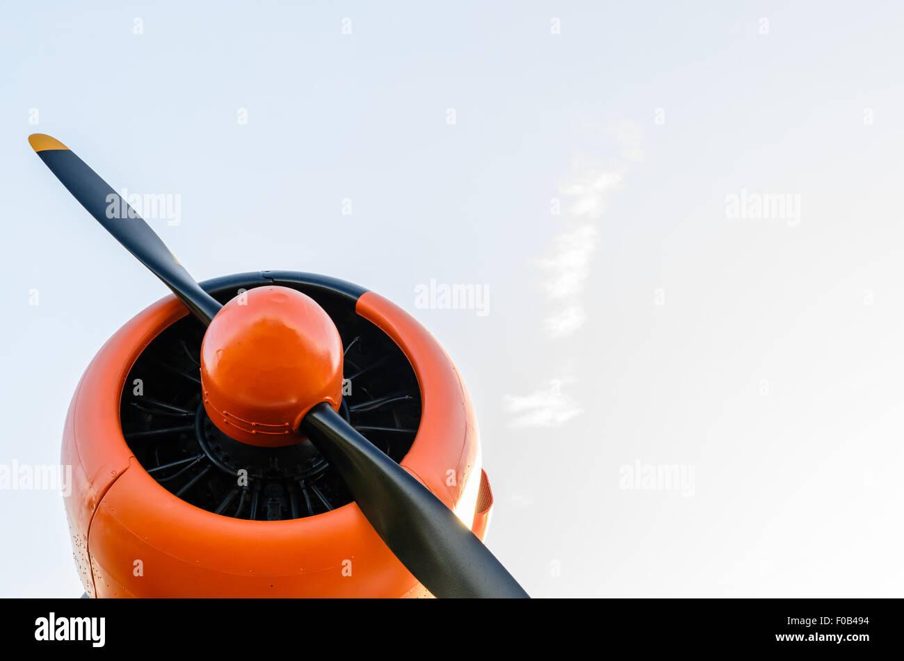 Engine propeller, Old airplane, orange, North American T-6G Texan - Stock Image