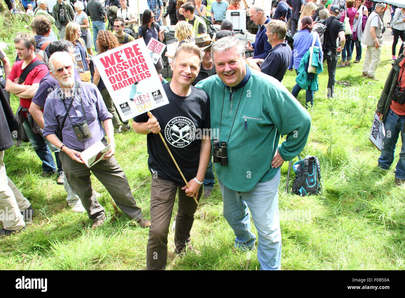 (l-r) Broadcaster, Chris Pckham and environmentalist, Mark Avery head up a Hen Harrier Day protest in the Peak District, - Stock Image