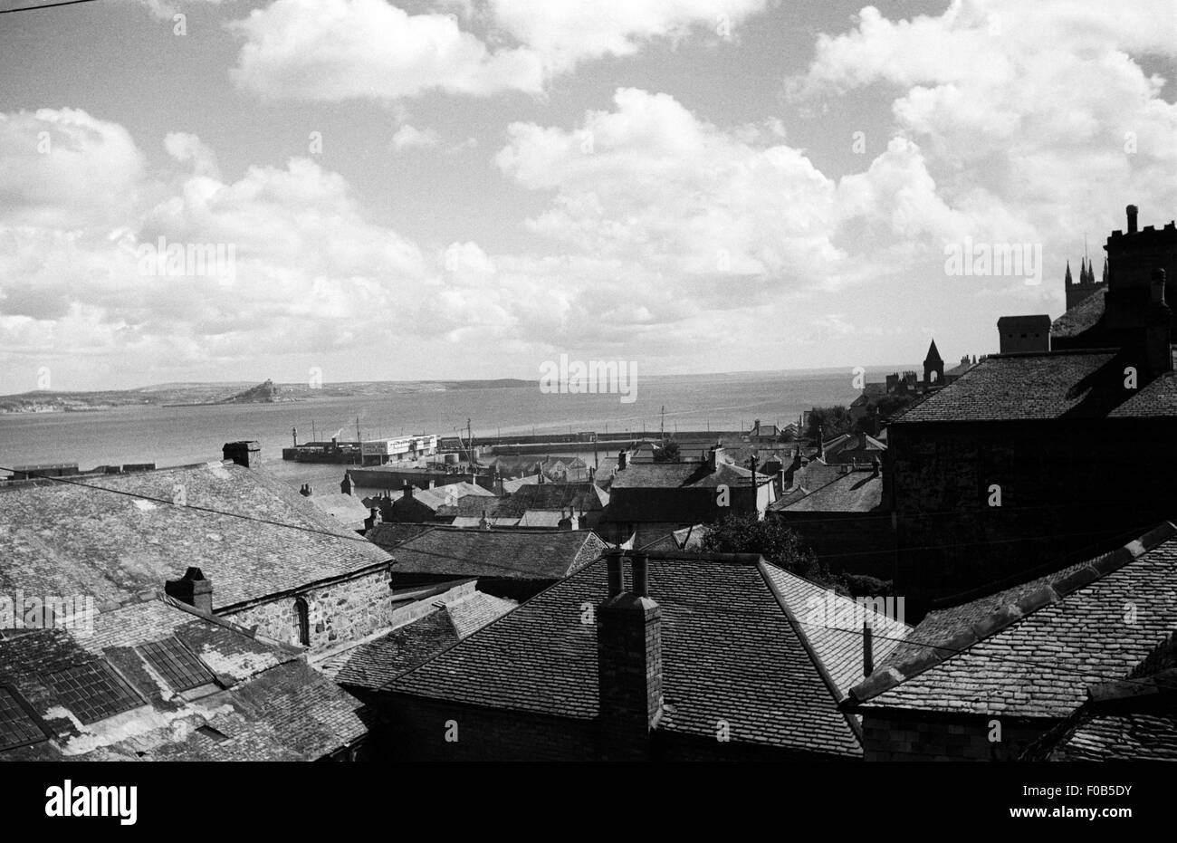 The roofs of a seaside town. - Stock Image