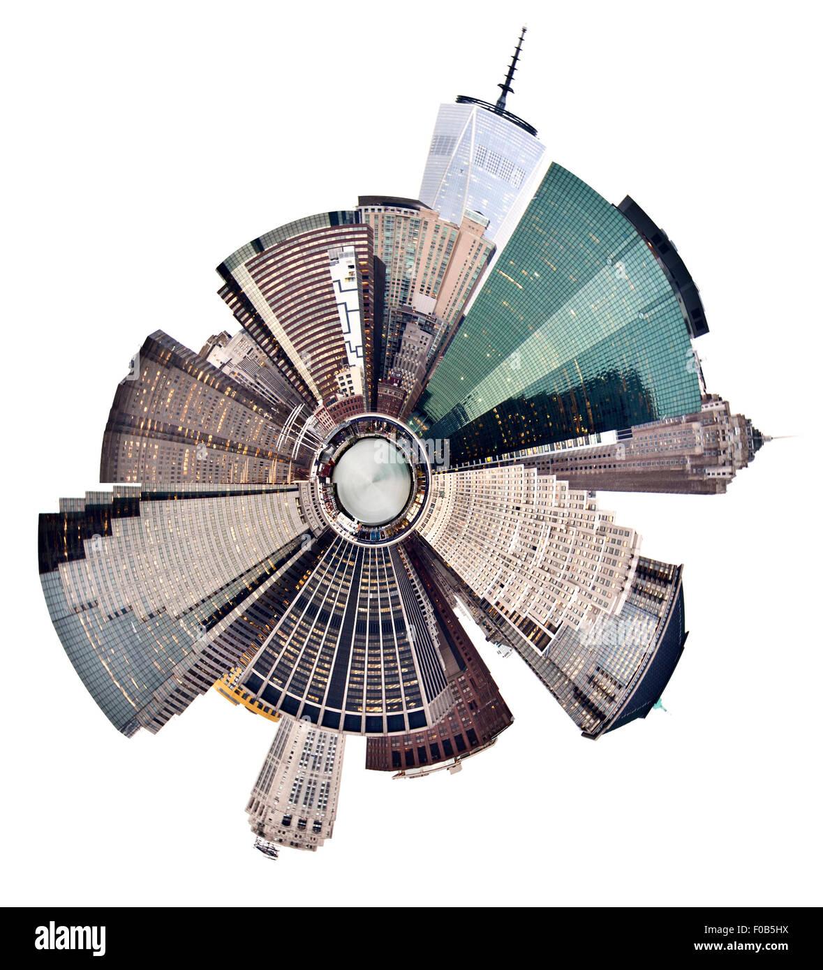 New York lower Manhattan skyline with spherical effect - Stock Image
