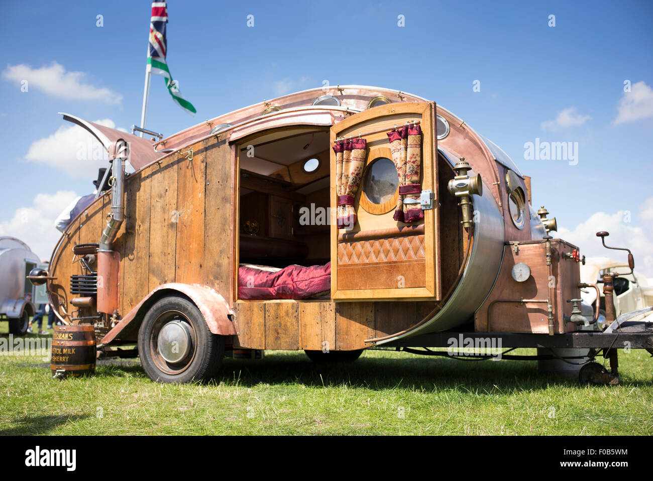 Steampunk Teardrop trailer at a vintage retro festival  UK