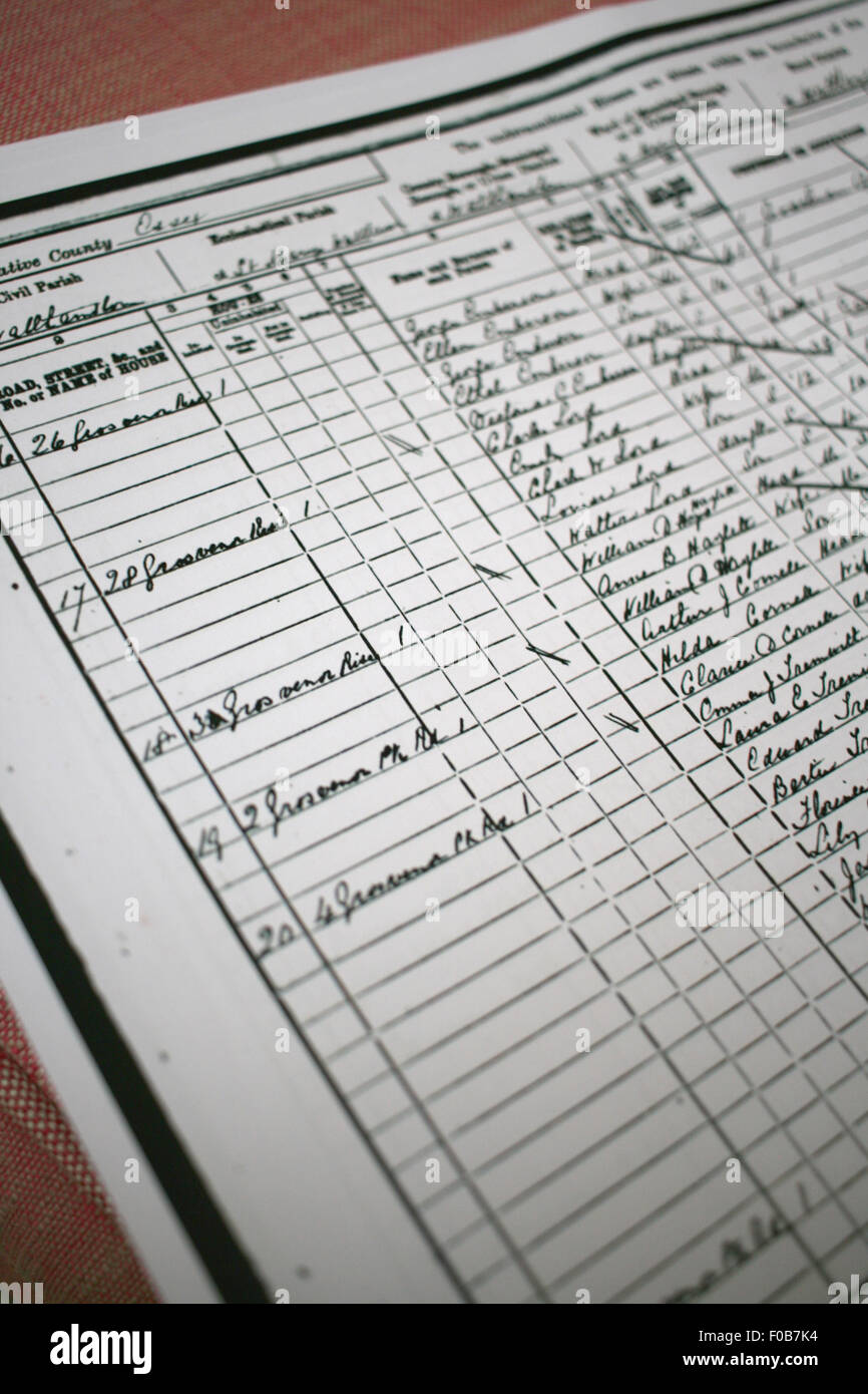 Extract from a page from a census return from 1881, Walthamstow used by genealogist or social historian - Stock Image