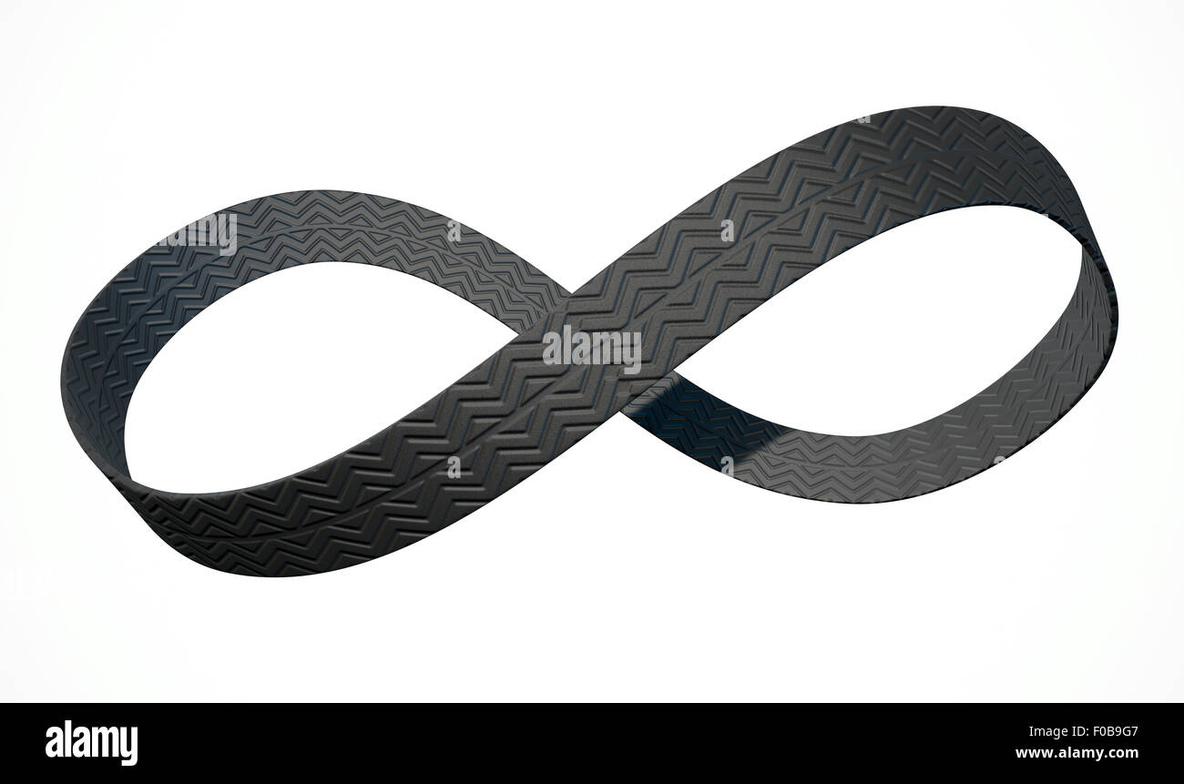 A 3D rendering of an infinity symbol made up of a ribbon of rubber tyre tread on an isolated white studio background - Stock Image