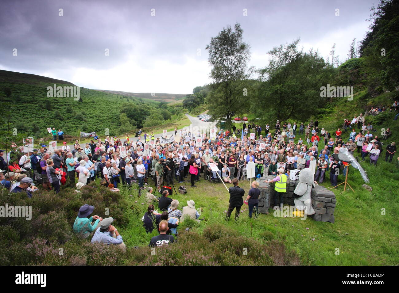 Protesters gather to campaign against the illegal persecution of hen harriers at Hen Harrier Day,Peak District Derbyshire Stock Photo